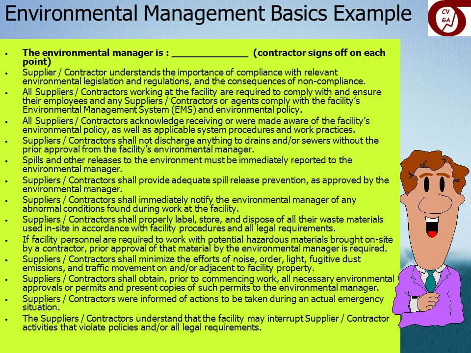 Environmental Management Basics Example