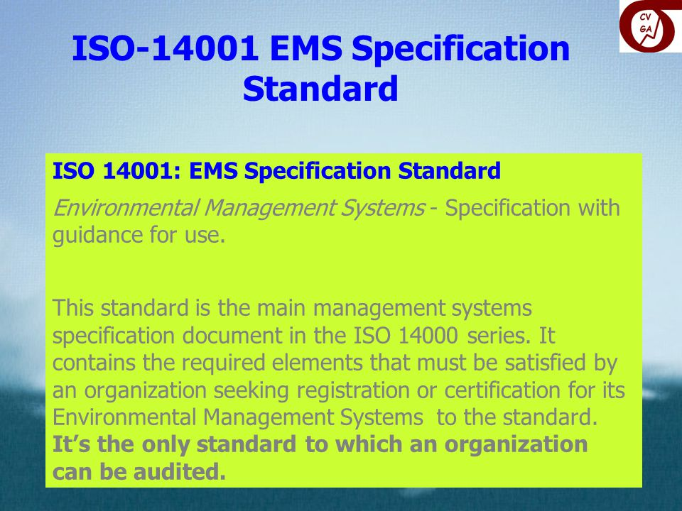 ISO EMS Specification Standard