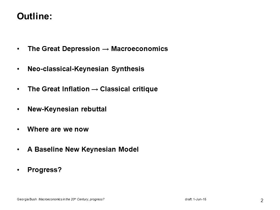 macroeconomics in the th century progress ppt 2 outline the great depression acirc134146 macroeconomics