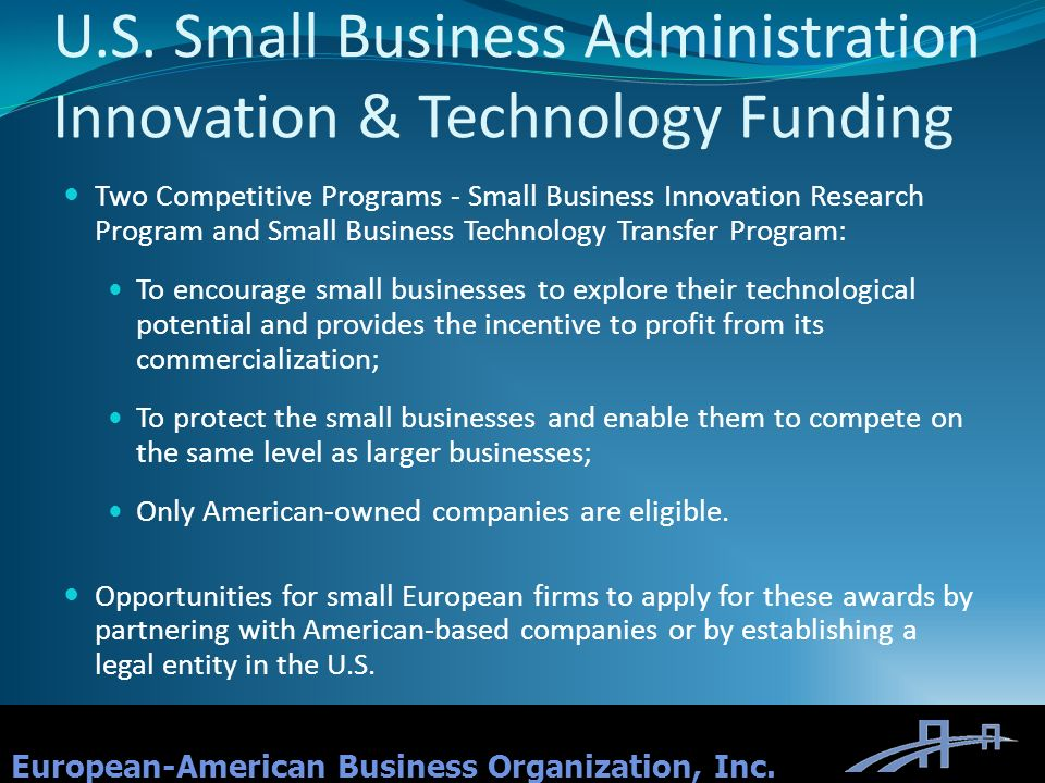 U.S. Small Business Administration Innovation & Technology Funding