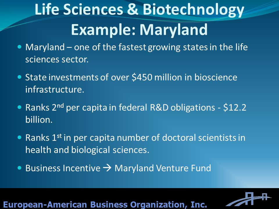 Life Sciences & Biotechnology Example: Maryland