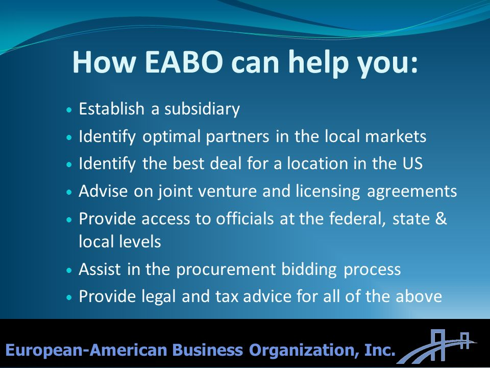 How EABO can help you: Establish a subsidiary