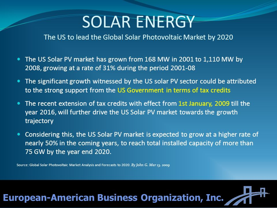 SOLAR ENERGY The US to lead the Global Solar Photovoltaic Market by 2020