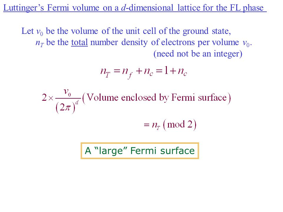 Luttinger's Fermi volume on a d-dimensional lattice for the FL phase