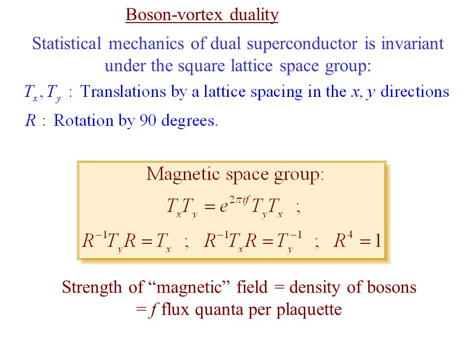 Boson-vortex duality Statistical mechanics of dual superconductor is invariant under the square lattice space group: