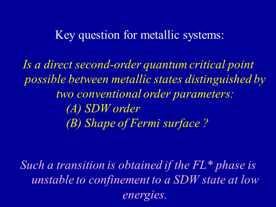 Key question for metallic systems: