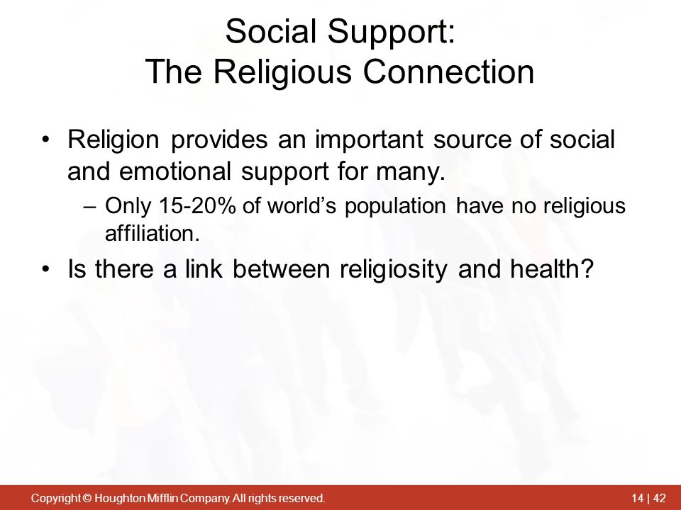 the importance of social support on A number of studies indicate the importance of social support to the  psychological well-being of patients both social isolation and loneliness are  associated with.