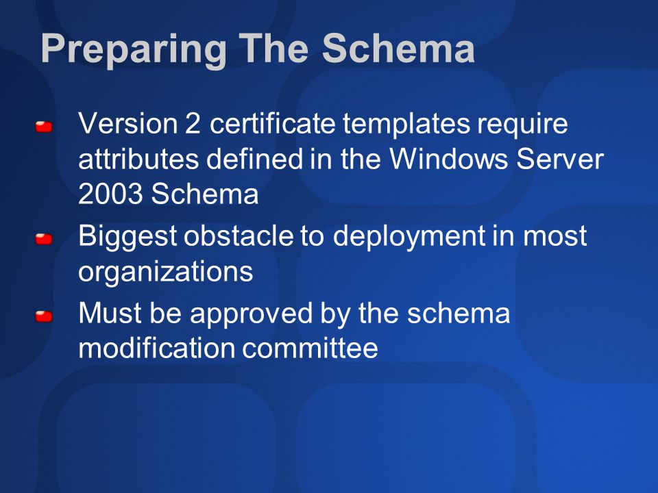Sec316 planning and deploying pki in the real world ppt video preparing the schema version 2 certificate templates require attributes defined in the windows server 2003 schema yadclub Gallery
