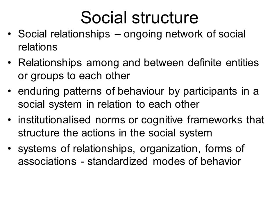 relationship between social structure and system