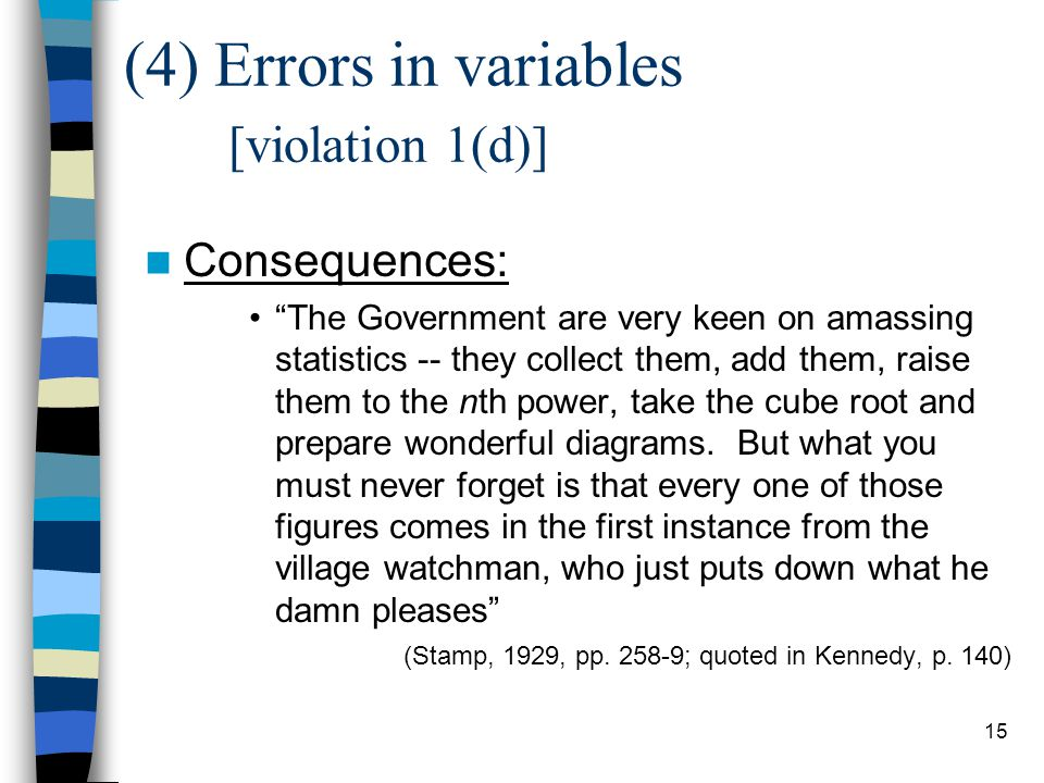 (4) Errors in variables [violation 1(d)]