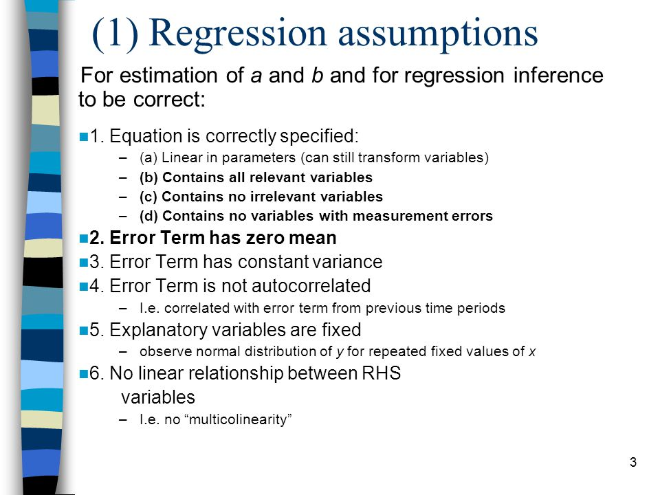 (1) Regression assumptions