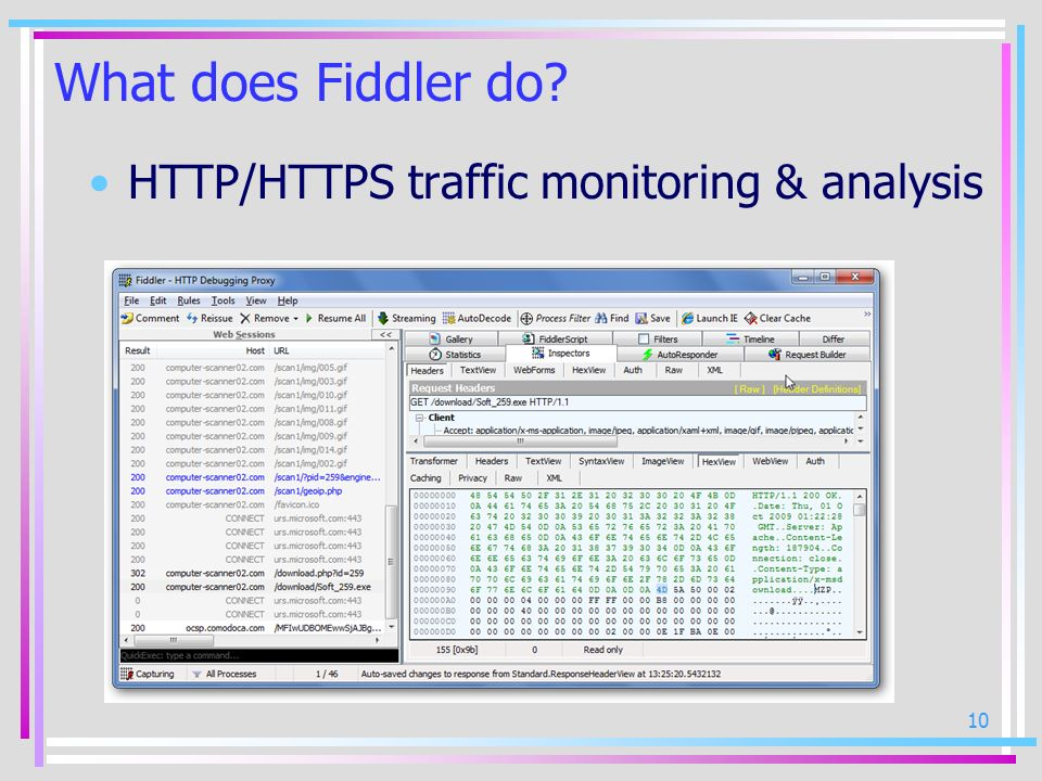 What does Fiddler do HTTP/HTTPS traffic monitoring & analysis