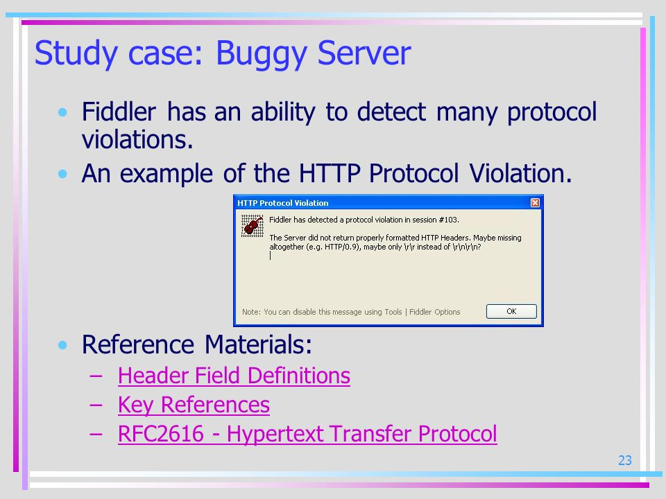 Study case: Buggy Server