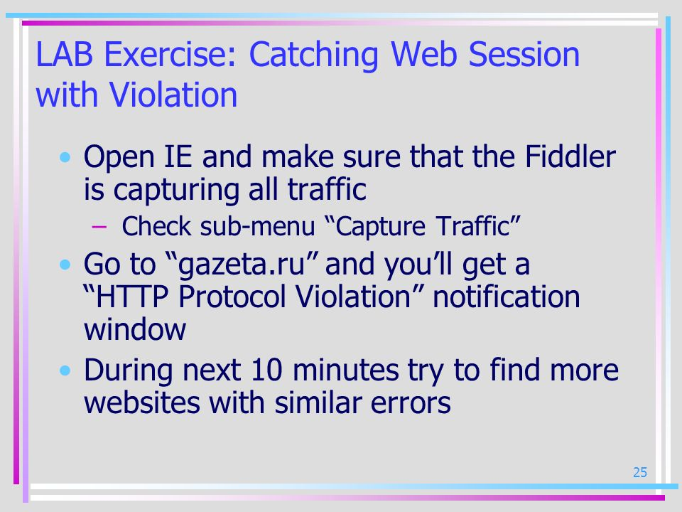 LAB Exercise: Catching Web Session with Violation