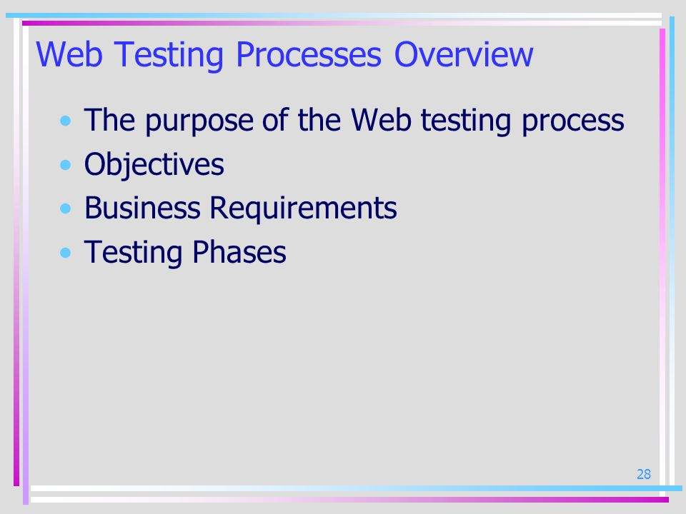 Web Testing Processes Overview