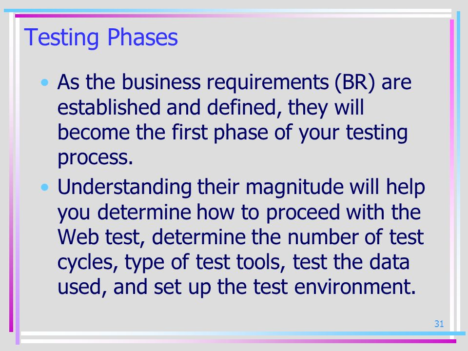 Testing Phases As the business requirements (BR) are established and defined, they will become the first phase of your testing process.