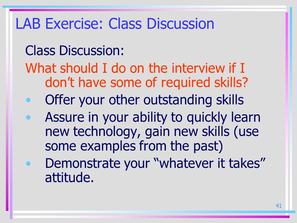 LAB Exercise: Class Discussion