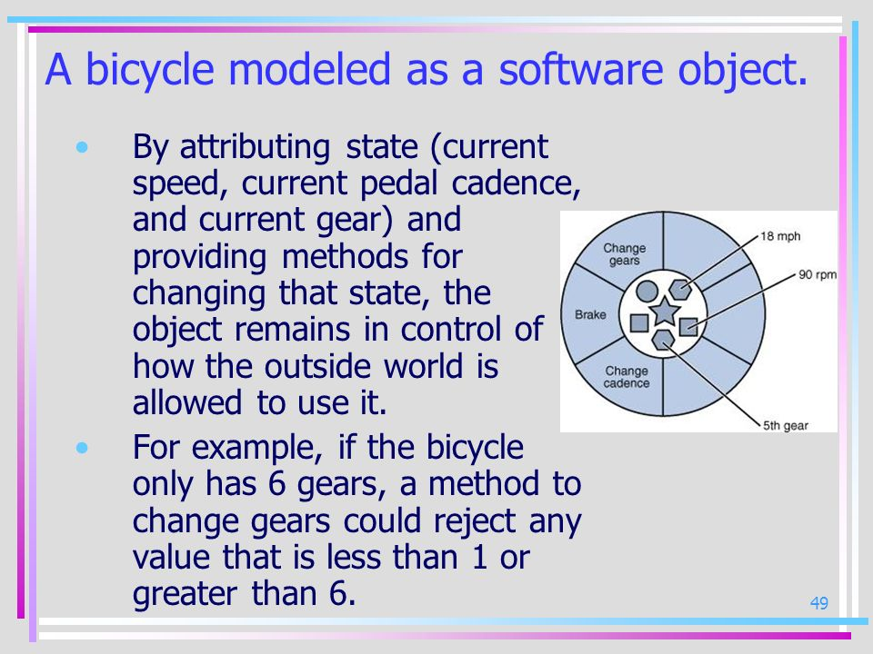 A bicycle modeled as a software object.