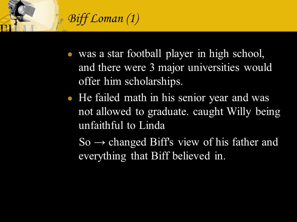 biff lomans turning point Death of a salesman biff loman turning point to what extent can willy loman be considered a tragic hero according to aristotle's rules arthur miller presents his death of a salesman biff.