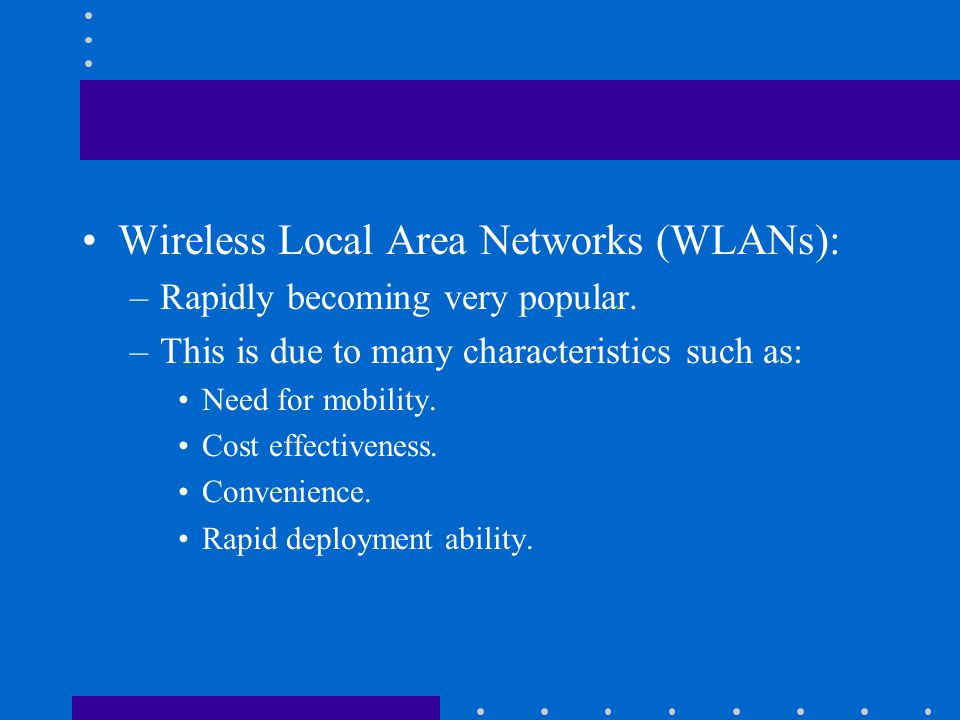 wireless local area networks history and Local area network: local area network (lan), any communication network for connecting computers within a building or small group of buildings a lan may be configured as (1) a bus, a main channel to which nodes or secondary channels are connected in a branching structure, (2) a ring, in which each computer is.