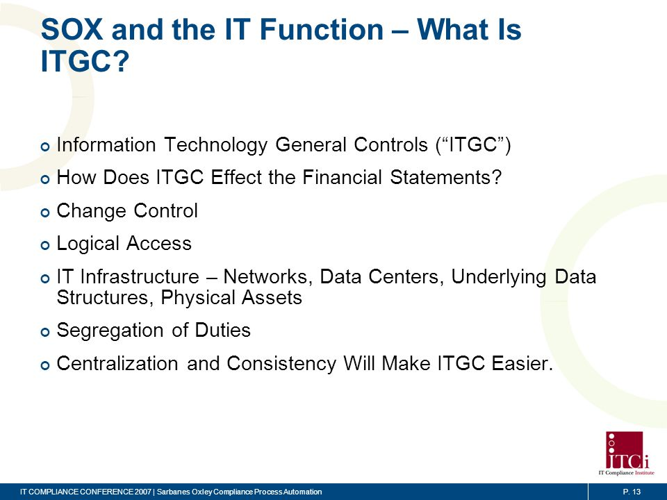 SOX and the IT Function – Using IT To Automate Controls