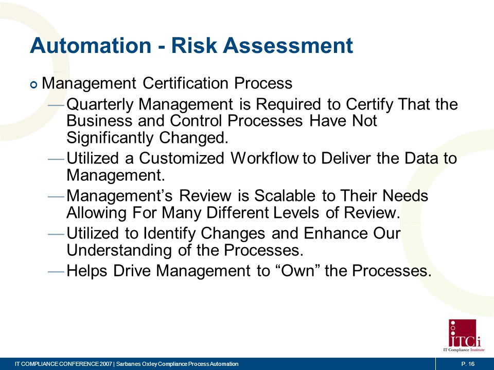 Automation - Risk Assessment (cont)
