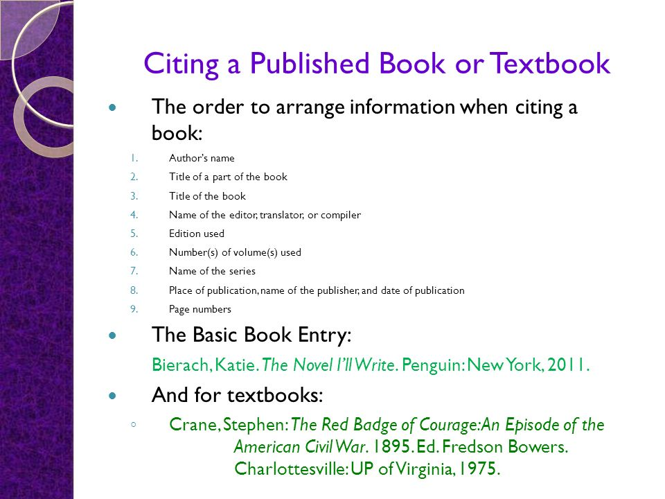 Citing a Published Book or Textbook