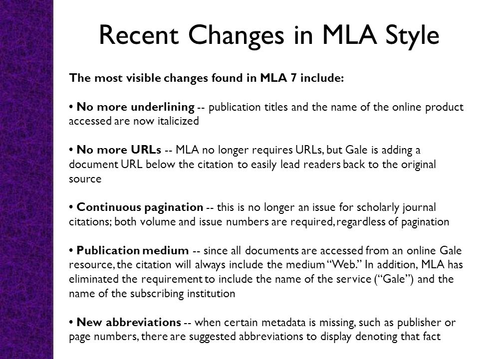 Recent Changes in MLA Style