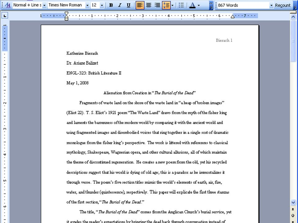 Example of First Page Format