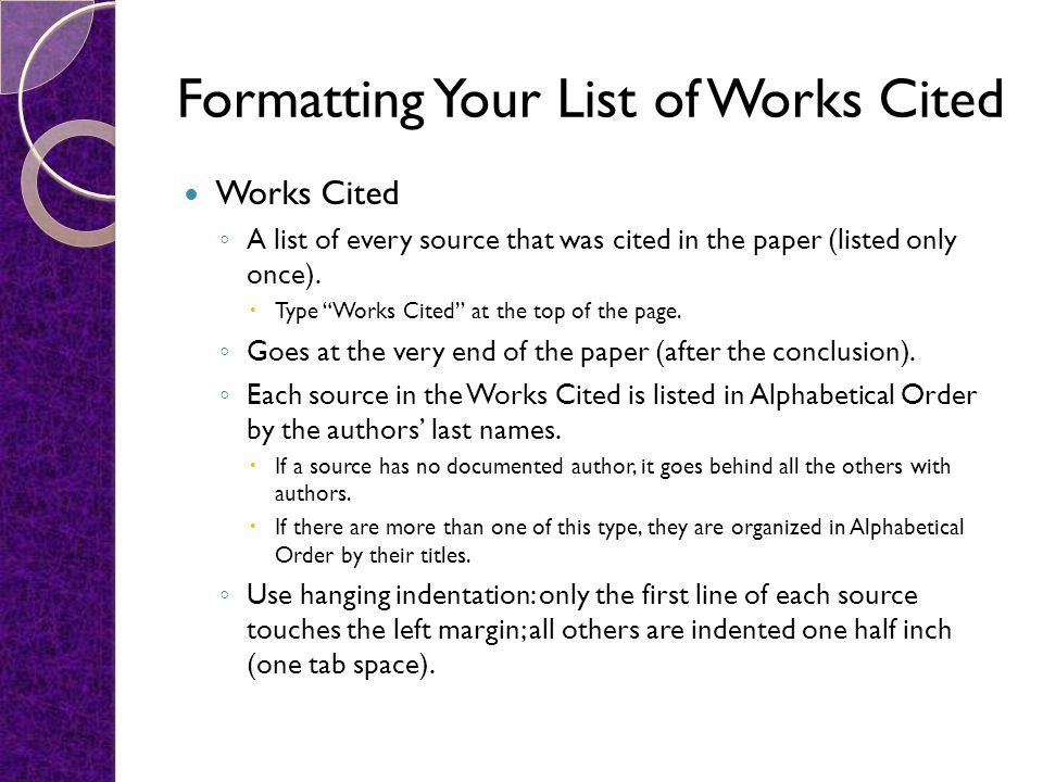 Formatting Your List of Works Cited