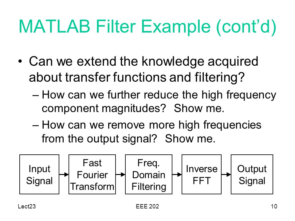 MATLAB Filter Example (cont'd)