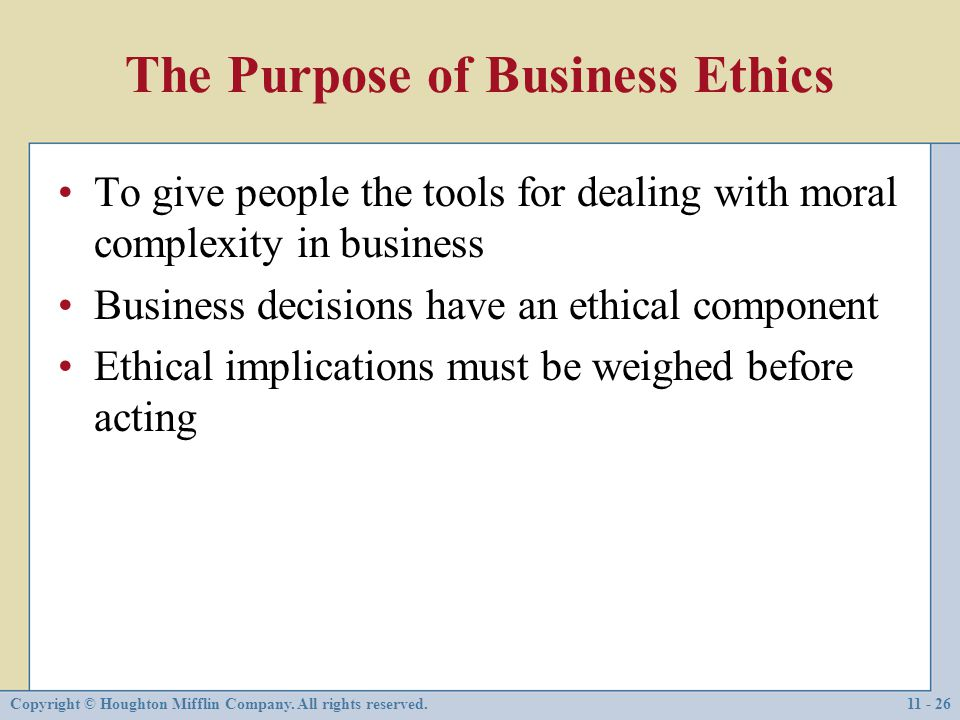 business ethics moral rights Ethics and social responsibility ethics is the code of moral principles and values that govern the the moral‑rights approach asserts that people have.