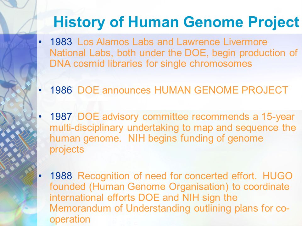 an introduction to the history of human genome project History the human genome project (hgp) was a 13-year research project carried out in more than 20 laboratories around the world the goal of the hgp was to discover.