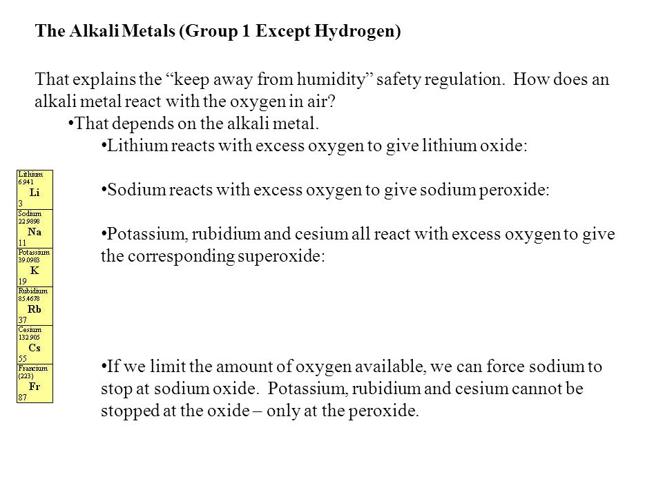 The alkali metals group 1 except hydrogen ppt video online download the alkali metals group 1 except hydrogen urtaz Choice Image