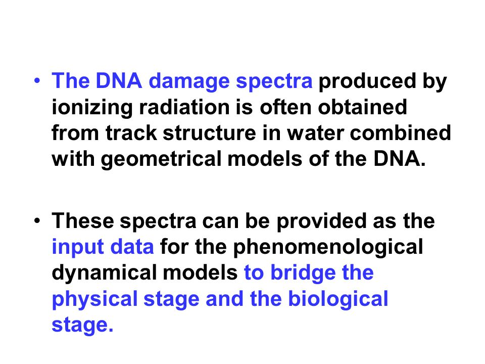 The DNA damage spectra produced by ionizing radiation is often obtained from track structure in water combined with geometrical models of the DNA.