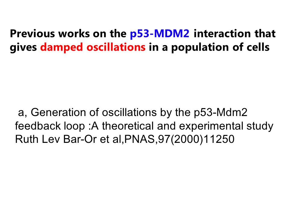 Previous works on the p53-MDM2 interaction that gives damped oscillations in a population of cells