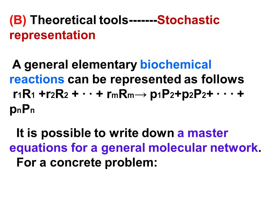 (B) Theoretical tools-------Stochastic representation