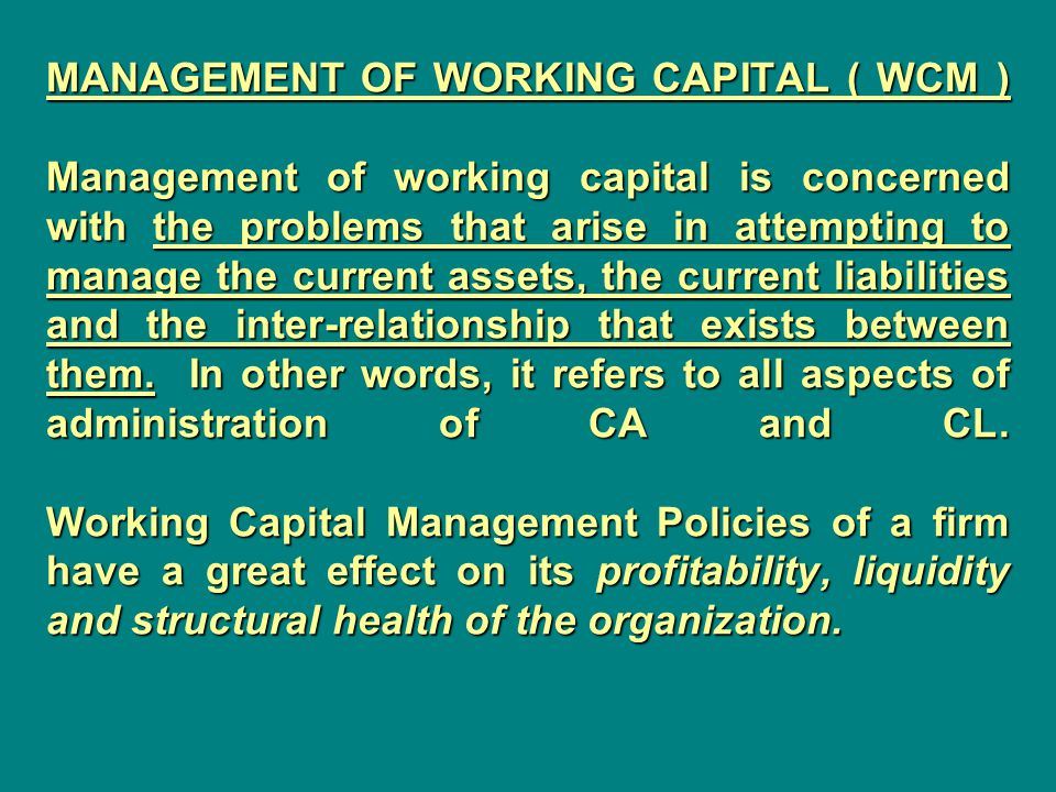 Liquidity and Profitability| Working Capital