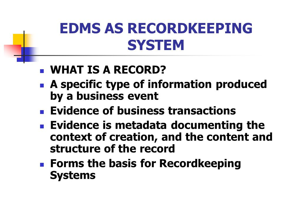 recordkeeping system The city of austin's water environmental integrated recordkeeping system ( weirs) is only accessible by city of austin employees and approved external.