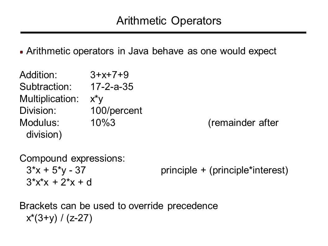 Multiplication table java image collections periodic table images language fundamentals ppt download arithmetic operators arithmetic operators in java behave as one would expect addition gamestrikefo Choice Image