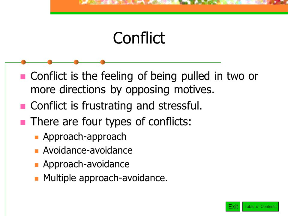 stress and conflict How can the answer be improved.