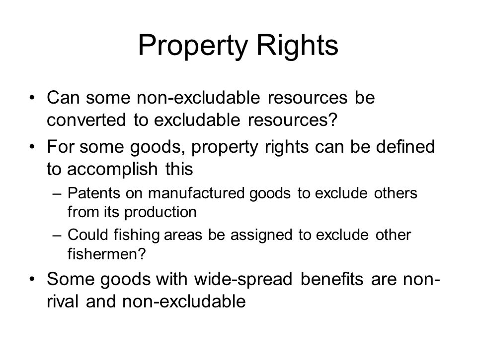 Property Rights Can some non-excludable resources be converted to excludable resources