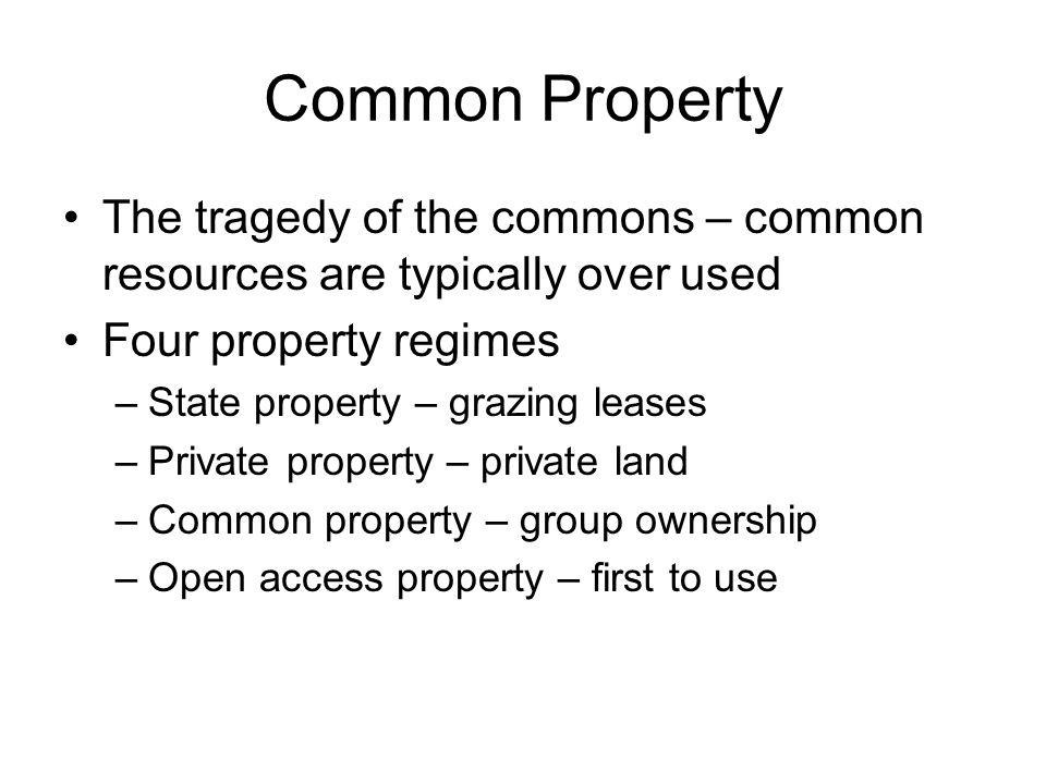 Common Property The tragedy of the commons – common resources are typically over used. Four property regimes.