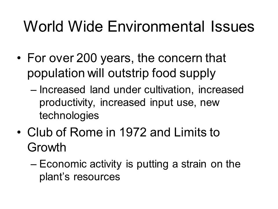 World Wide Environmental Issues