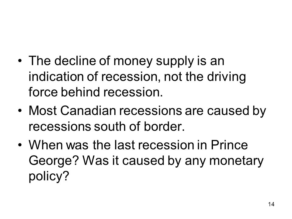 The decline of money supply is an indication of recession, not the driving force behind recession.