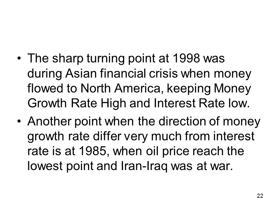 The sharp turning point at 1998 was during Asian financial crisis when money flowed to North America, keeping Money Growth Rate High and Interest Rate low.