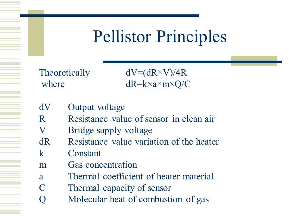 Pellistor Principles Theoretically dV=(dR×V)/4R where dR=k×a×m×Q/C