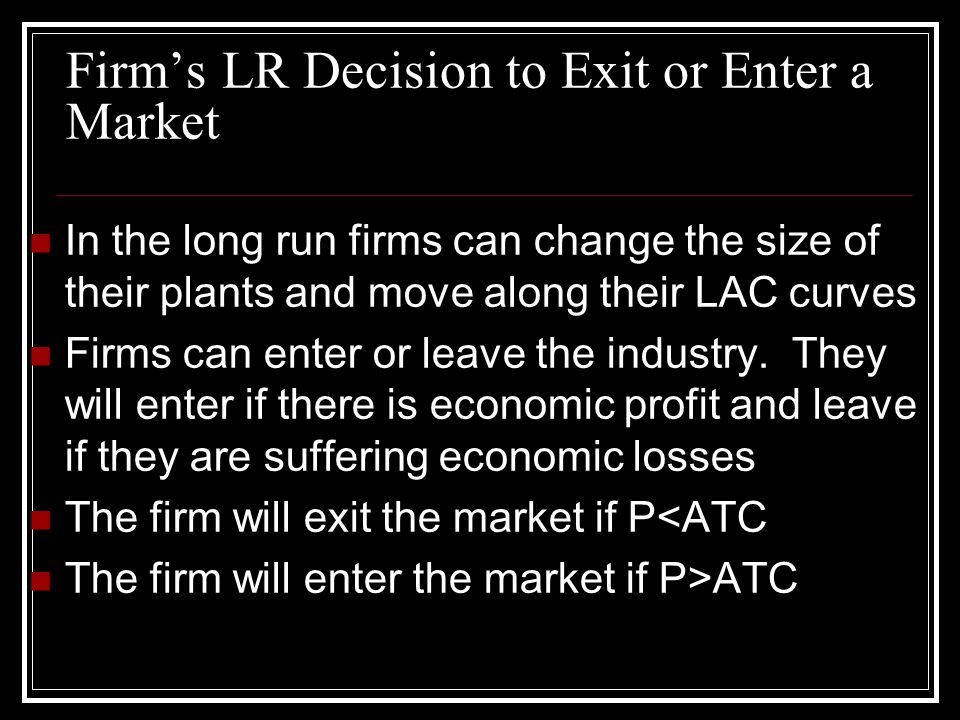 Firm's LR Decision to Exit or Enter a Market