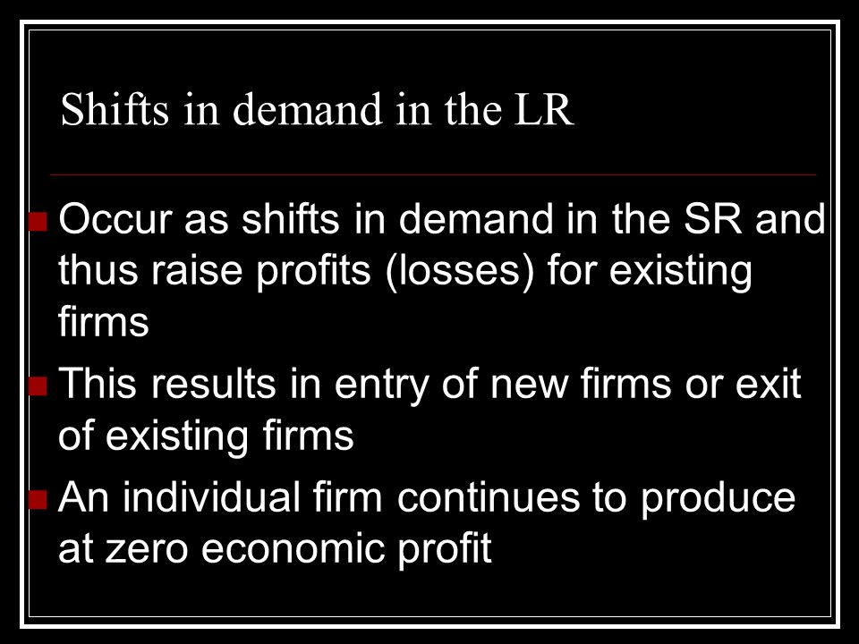 Shifts in demand in the LR