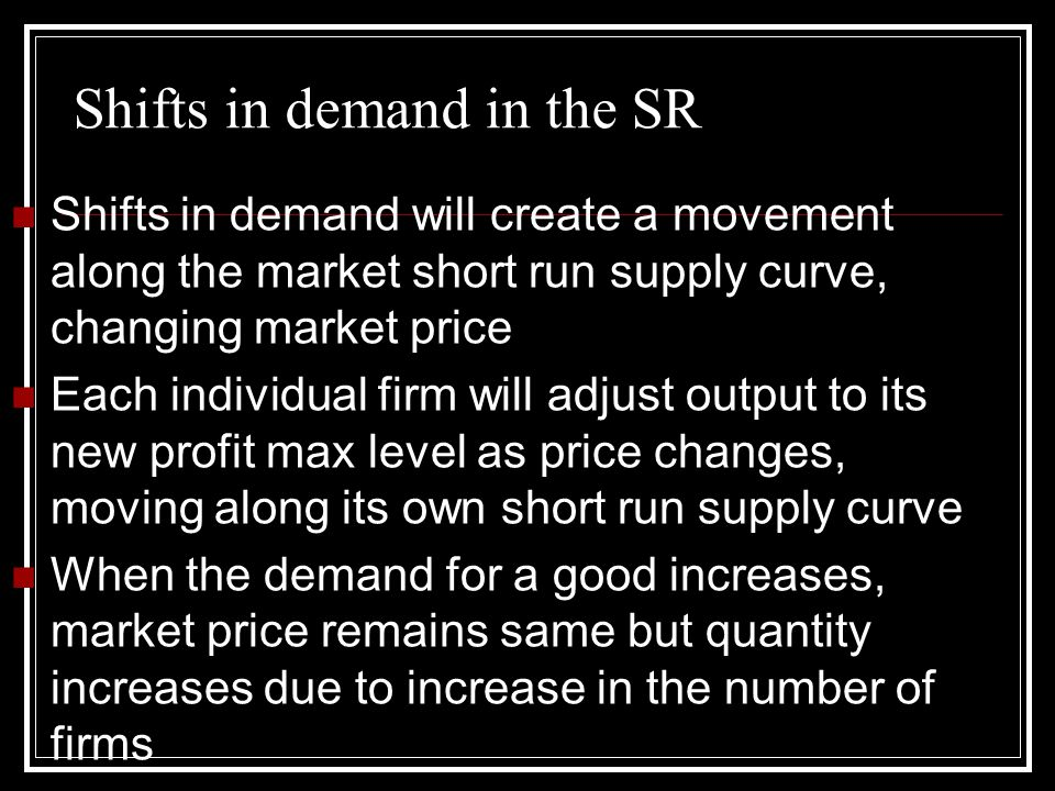 Shifts in demand in the SR